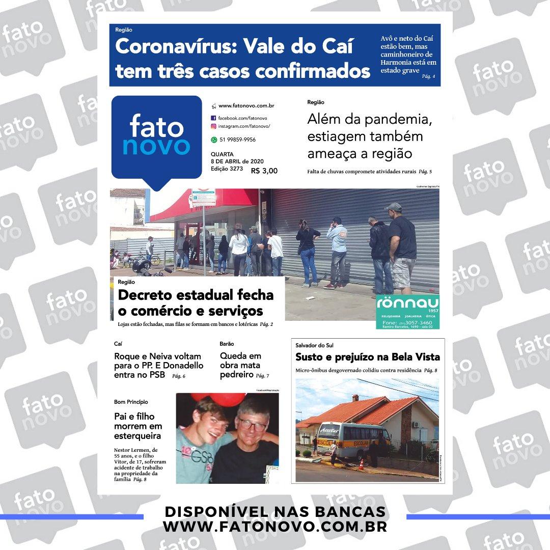 Capa da edição 3273 (08/04/2020)  Lembrando também que você pode ler tudo através do site , mas atenção, o site está liberado para todos em virtude ao combate ao novo Corona Vírus.  #Jornal #Capa #FatoNovo #ValedoCaí