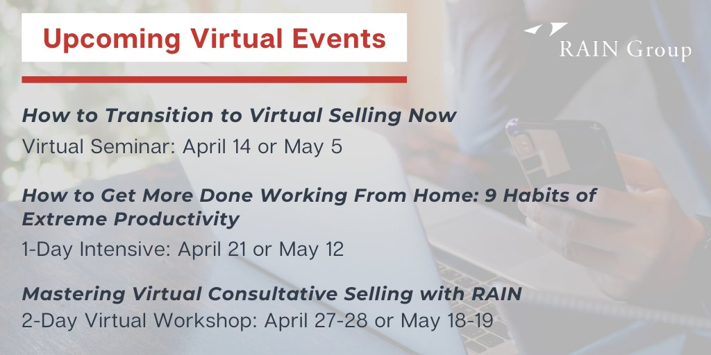 Develop the crucial skills needed to succeed in sales today with RAIN Group's live virtual training events. Learn more about the series of upcoming workshops here: https://hubs.ly/H0p9J700 #ConsultativeSelling #SalesTeam @RAINSellingpic.twitter.com/AC30eBeFKC