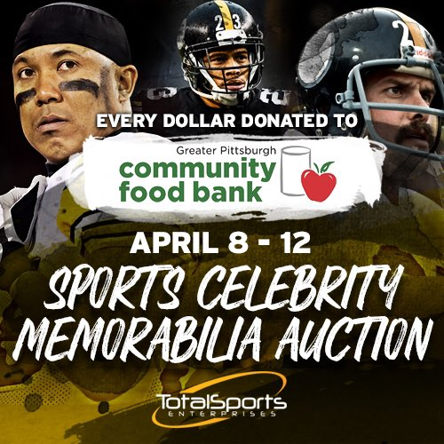The @TotalSportsEnt online auction is underway, benefiting @PghFoodBank! Really interesting items up for grabs -- authentic memorabilia and online calls(!) with Steelers present and past. Ends Sunday: 32auctions.com/organizations/…