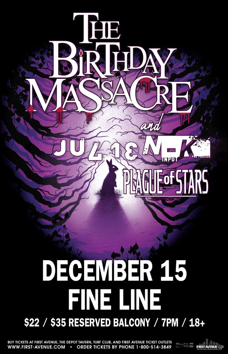 Just Announced: The Birthday Massacre (@TBMassacre) at the Fine Line on December 15. This is a rescheduled date from April 23 – all tickets purchased for that date will be honored. Tickets → bit.ly/35DIVBZ
