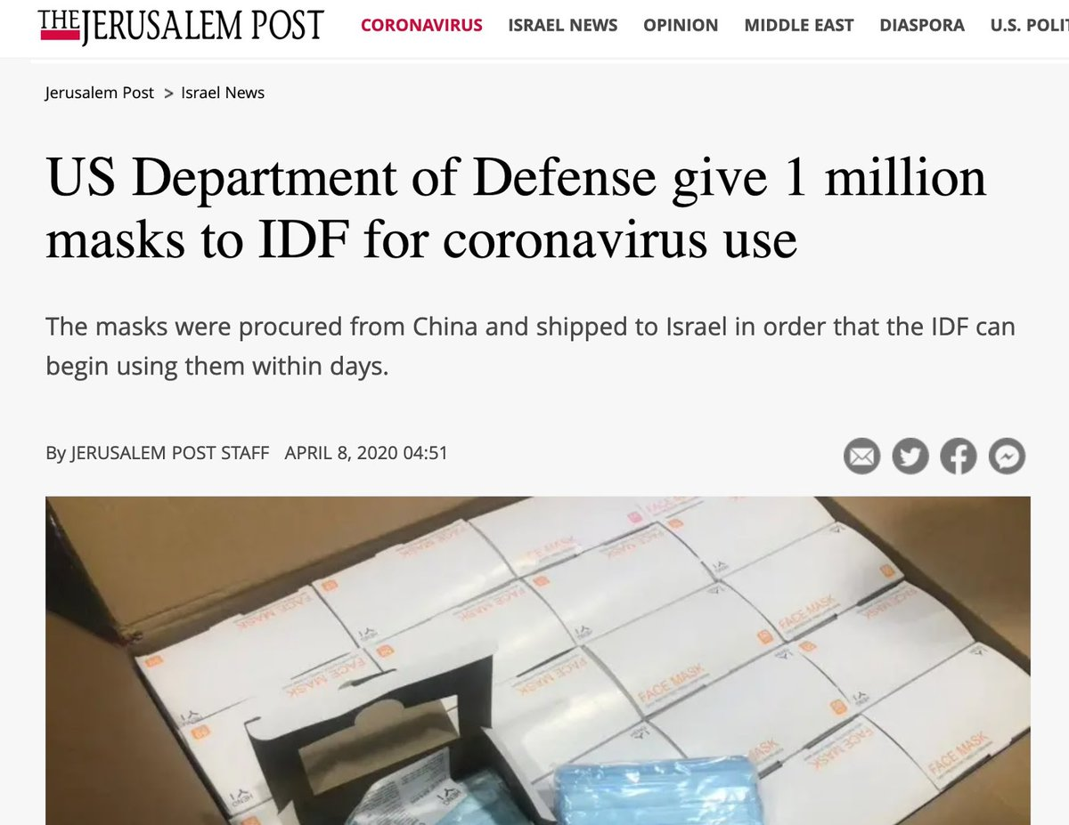 This morning, news broke that the logistics department of the Department of Defense was focused on purchasing and supplying the Israeli military with PPE, even as doctors and nurses in New York are forced to wear trash bags and reuse dirty masks as they save lives. (1/9)