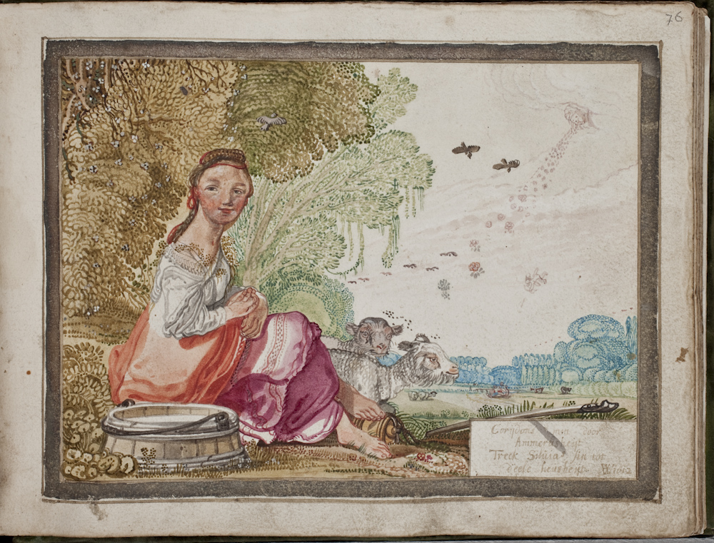 For #LockdownBestiary , I have just one image for today's L for #Lamb . This image of Sylvia the #shepherdess with her lambs is from the songbook of Anna Steyn, a young woman from Haarlem. The artist is Willem Buytenwech, a famous draughtsman (@KB_Nederland  79 J 30)pic.twitter.com/rGzuIVXKyM