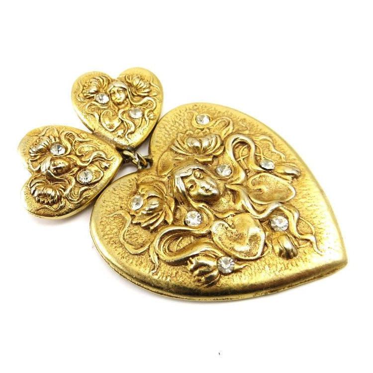 Vintage Gold Heart Brooch, Valentines Day Jewelry, Mythical Maiden Goddess Rhinestone Brooch, Gothic Vintage Valentine  #Etsy #Unique #Victorian #antiquejewelry #vintagejewelry #artdeco #HeartJewelry