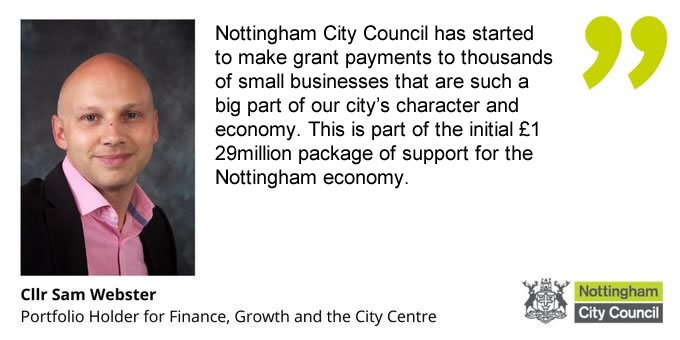 Nottingham City Council has today begun to make grant payments to thousands of businesses as part of a £129m package of support to local firms. Around £500,000 will be paid out in small business grants today with more to come over the following weeks: mynottinghamnews.co.uk/covid-19-notti…