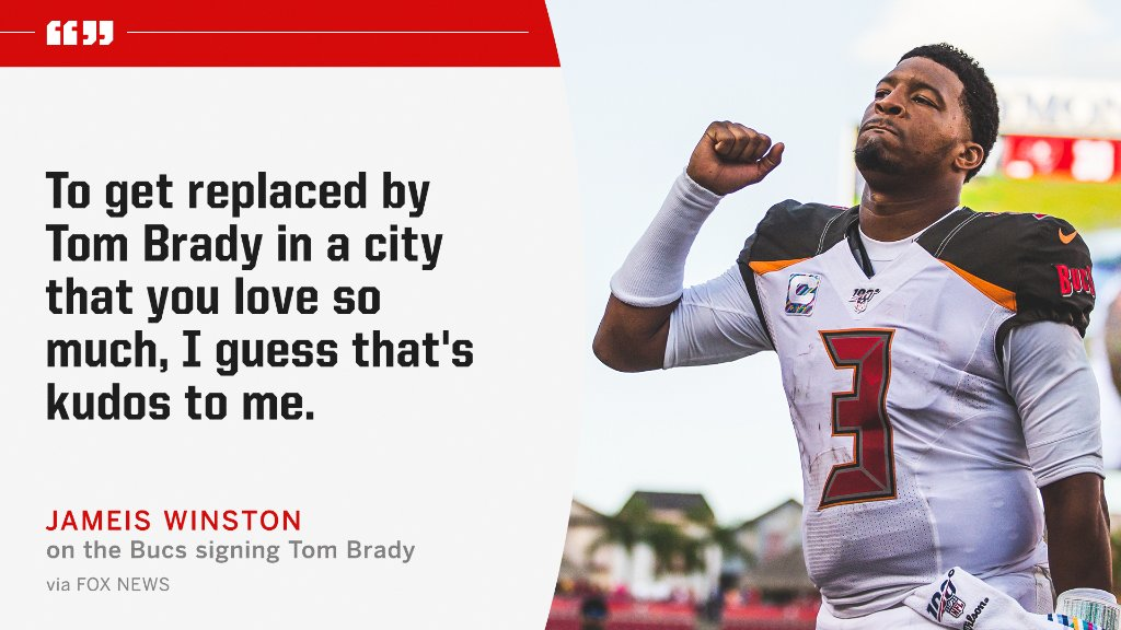 Jameis Winston said it's an honor that it took the best quarterback of all time to replace him in Tampa.