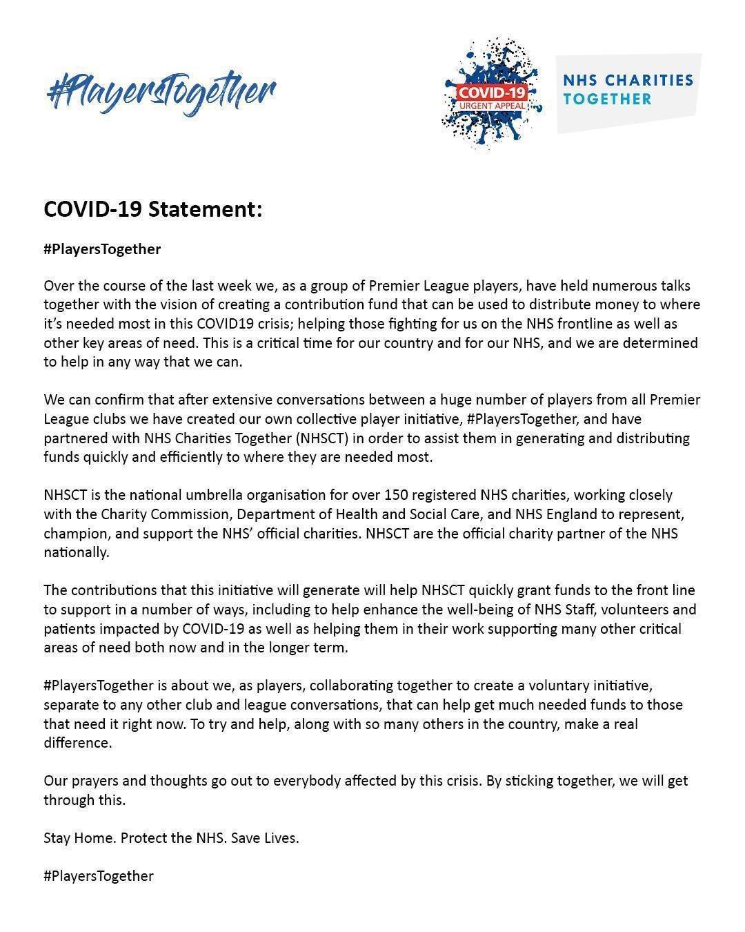 Premier League players full statement.