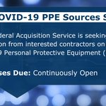GSA's Federal Acquisition Service is seeking information from interested contractors on providing #COVID19 Personal Protective Equipment (#PPE) items. Participants in this research will receive daily emails to check inventory status. To participate, visit: https://t.co/XmmnKLQ45J