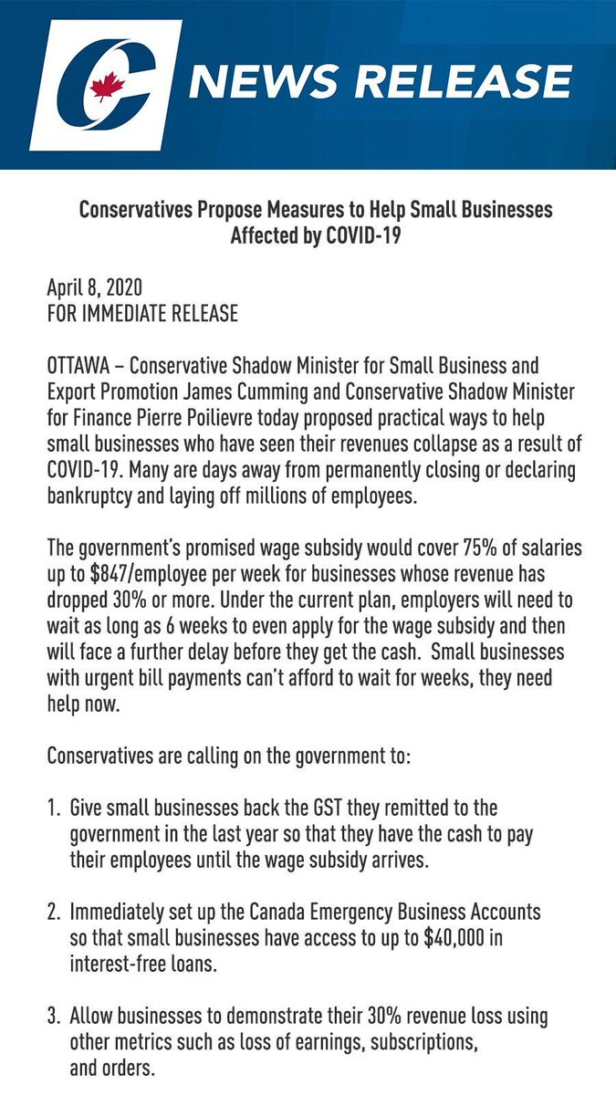 Conservatives Propose Measures to Help Small Businesses Affected by COVID-19 #cdnpolipic.twitter.com/F3zhL3MQCE