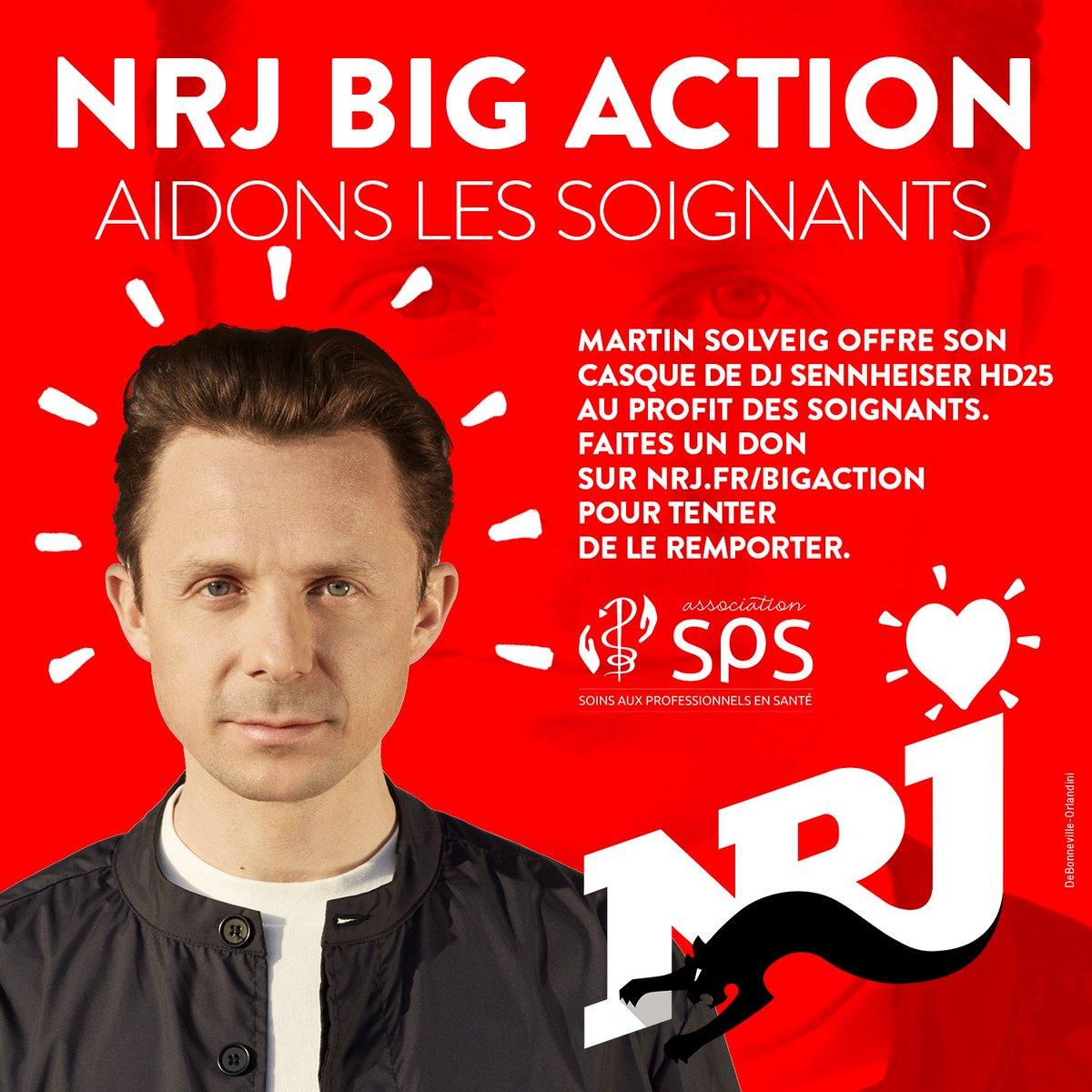 #NRJBigAction ✨ @martinsolveig était en direct avec @cauetofficiel  📞 Il vient d'offrir son casque de DJ (Sennheiser HD25) 🔥🎧 Soutenez les soignants et tentez de le remporter, en faisant un don pour l'association SPS sur  👈