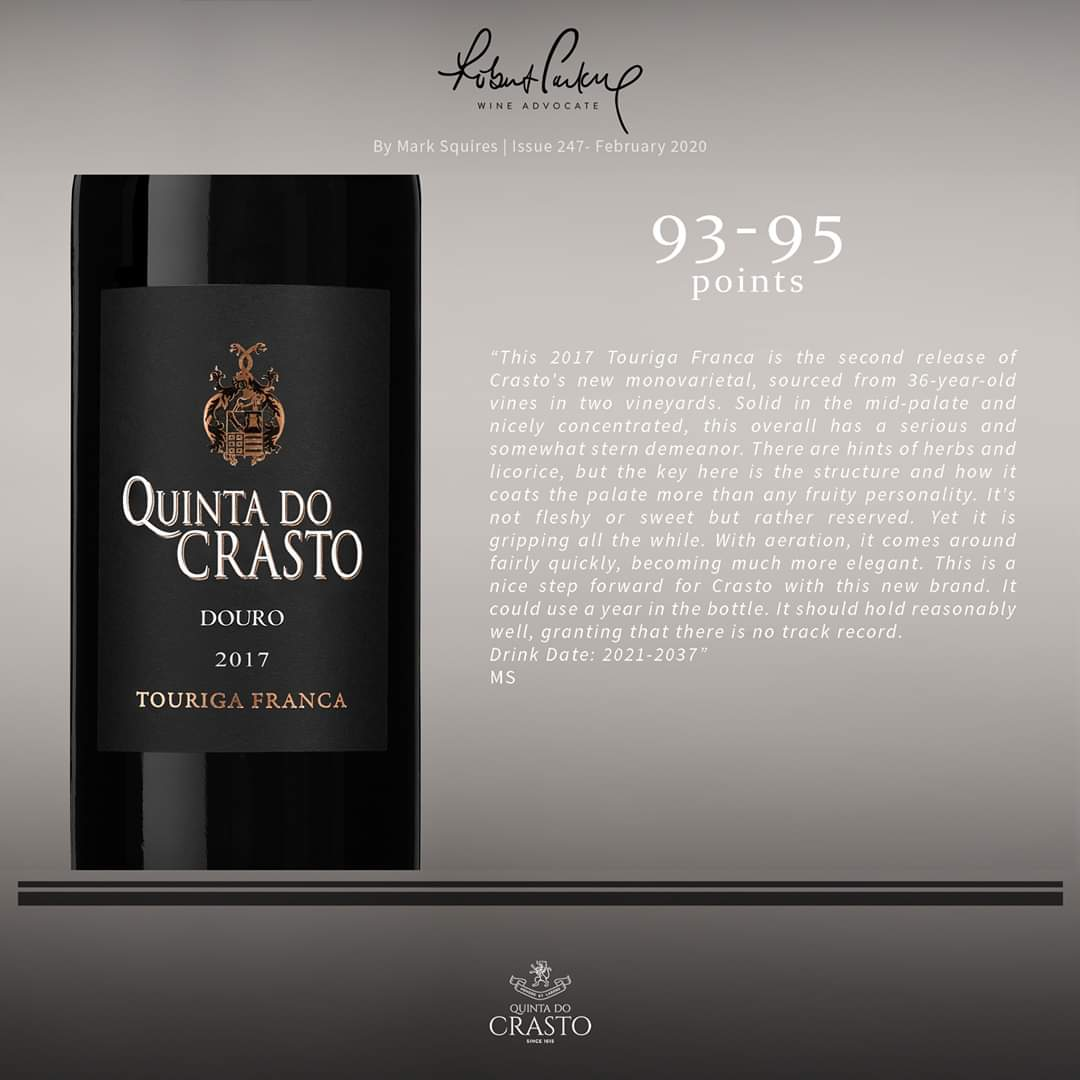 The latest score attributed to Quinta do Crasto #TourigaFranca 2017 by Mark Squires for Robert Parker @Wine_Advocate.  . #RobertParker #WineAdvocate #MarkSquires #Douro #Vinho #Vinhos #Wine #Wines #Wein #Weine #Vin #Vins #Vino #ワイン #포도주 #酒 #вино #Viini #WinesofPortugalpic.twitter.com/9pXKhb0Wxs