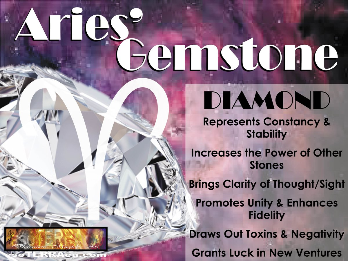 #Aries #Gemstone is the #Diamond Diamond increases the power of other stones, gives clarity of thought and sight, brings unity, and grants luck in new ventures.  #horoscopes #sunsigns #zodiacsigns #zodiac #astrology #crystals #metaphysics #esoTERRAca