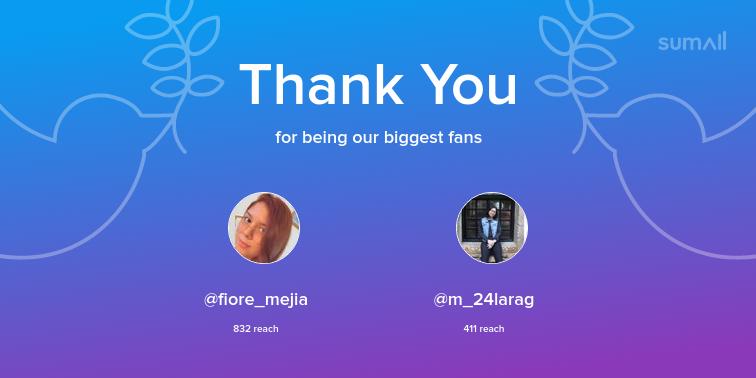 Our biggest fans this week: fiore_mejia, m_24larag. Thank you! via https://sumall.com/thankyou?utm_source=twitter&utm_medium=publishing&utm_campaign=thank_you_tweet&utm_content=text_and_media&utm_term=f0f8769dee26586a99a7e60e…pic.twitter.com/GdzM9Jj0fJ