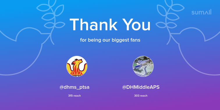 Our biggest fans this week: dhms_ptsa, DHMiddleAPS. Thank you! via <a target='_blank' href='https://t.co/J0OwOPTISF'>https://t.co/J0OwOPTISF</a> <a target='_blank' href='https://t.co/dhVNVbxYIn'>https://t.co/dhVNVbxYIn</a>