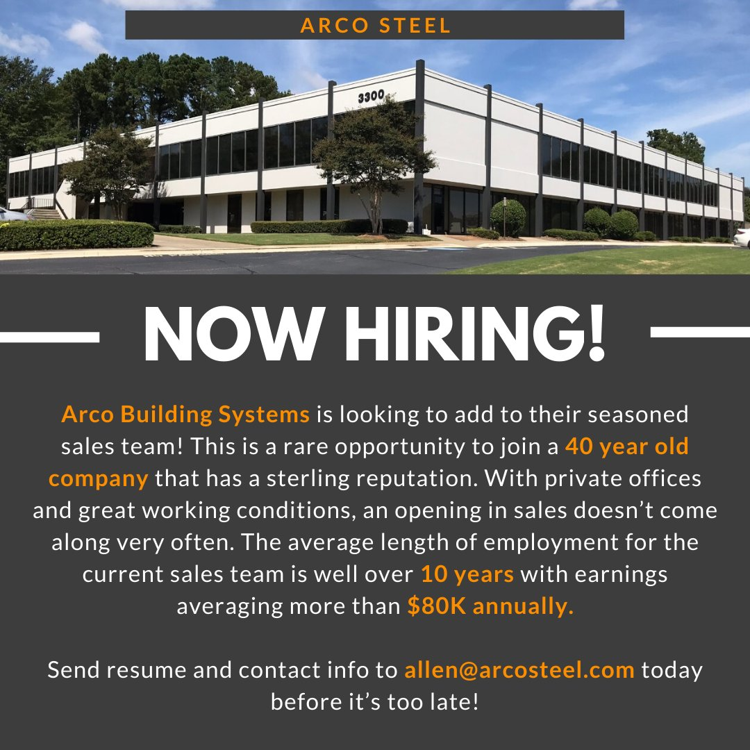 Attention: Arco Steel is hiring!   Send us an e-mail at allen@arcosteel.com with your resume to apply or if you have any questions. Share this post with your friends!  - The Arco Team  #nowhiring #steelbuildings #hiring #sales #salesteam #joinourteampic.twitter.com/udluV3L2SM