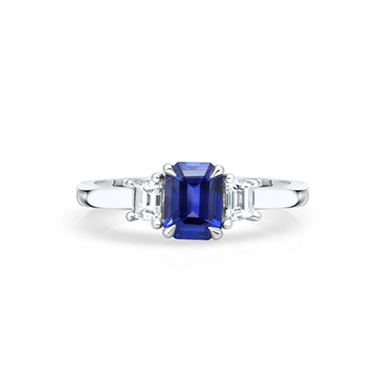 Take a look at this gorgeous emerald cut sapphire and diamond three stone ring, completely handmade in platinum. To see the different stages of construction have a look at our instagram page   #sapphire #diamond #bespokering #engagementring #ringshopping