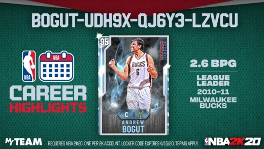 Career Highlights #LockerCode Let's honor the big man, #AndrewBogut, for leading the league in blocks per game in 2010-11 on Milwaukee. Use this #code for a chance at a #Diamond Bogut  For More #LockerCodes #NBA2K20  👉Follow Us 👉Like & RT 👉Click Here👉