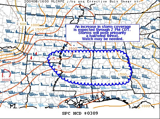 12:15 (4/8/2020): A watch (likely a severe t-storm watch) could be issued within the next hour as storm chances increase in coverage across MS and eventually AL. Large hail & damaging winds would be the primary threat. #alwx #WBRCFirstAlert @WBRCnews