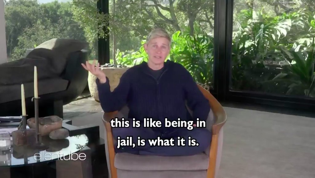 "Ellen DeGeneres is facing backlash for comparing self-quarantining to ""being in jail"""