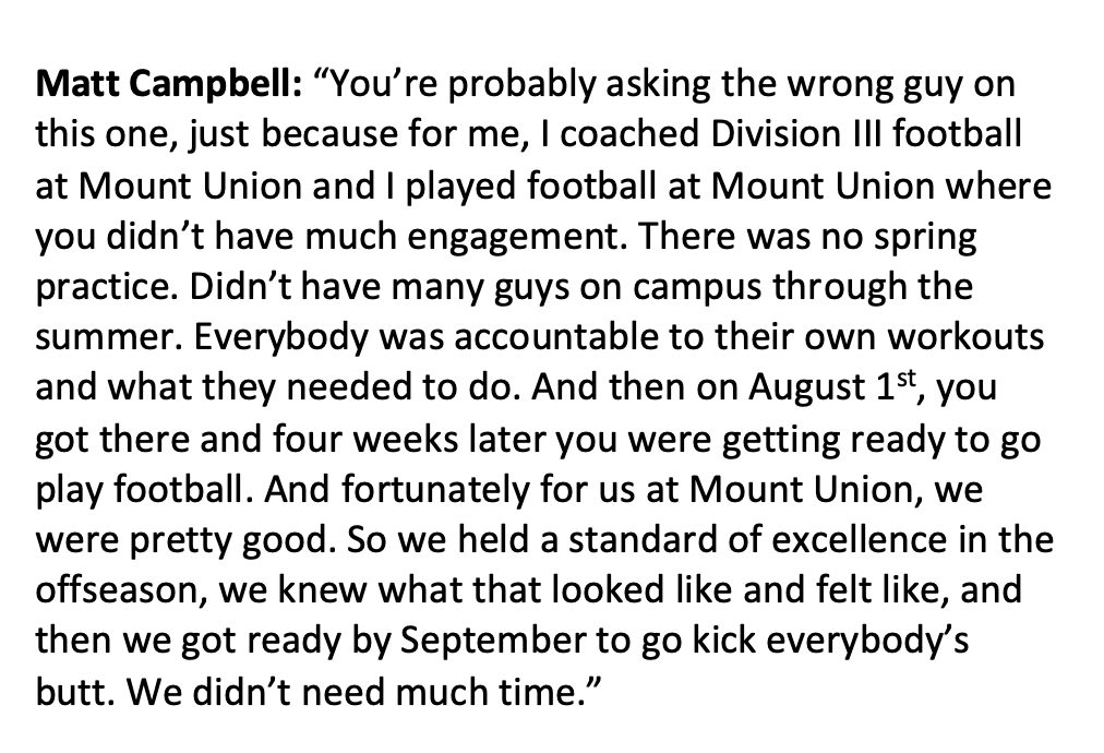 With so many CFB coaches concerned about when they'll get to return to action, I appreciate this perspective from Iowa State's Matt Campbell. https://t.co/eqNwyC6YLe