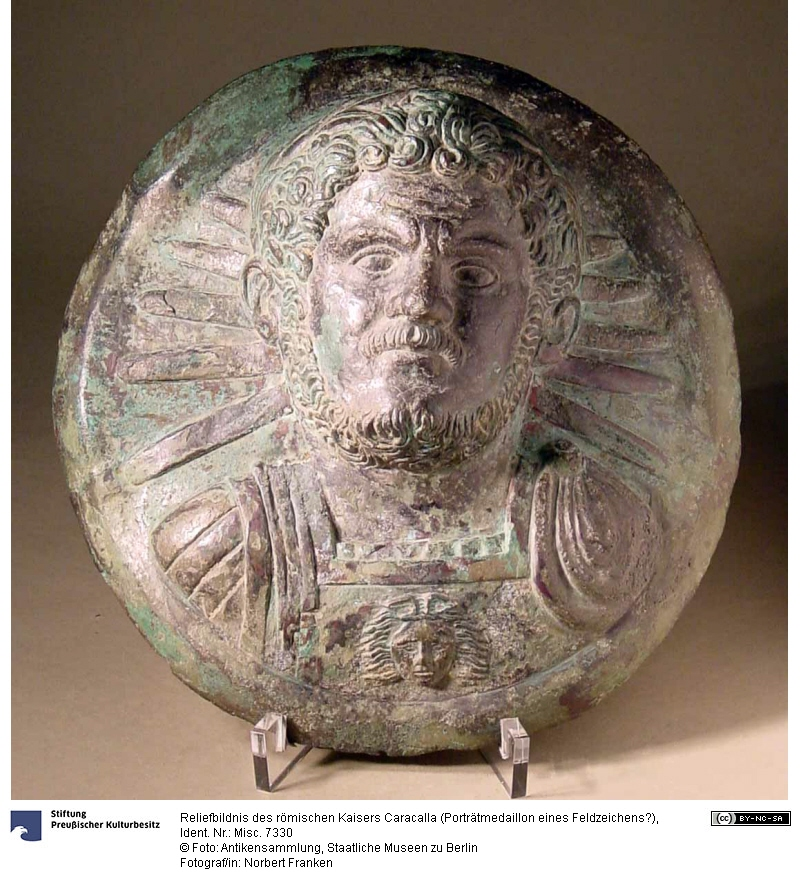 Bronze portrait medallion of the Roman emperor Caracalla who was killed #OTD in 217. The emperor is depicted as a Sun-god in a generals costume. The medallion probably comes from a standard of the Praetorians, in whose camp in Rome it was allegedly found (has diam. 18.4 cm).