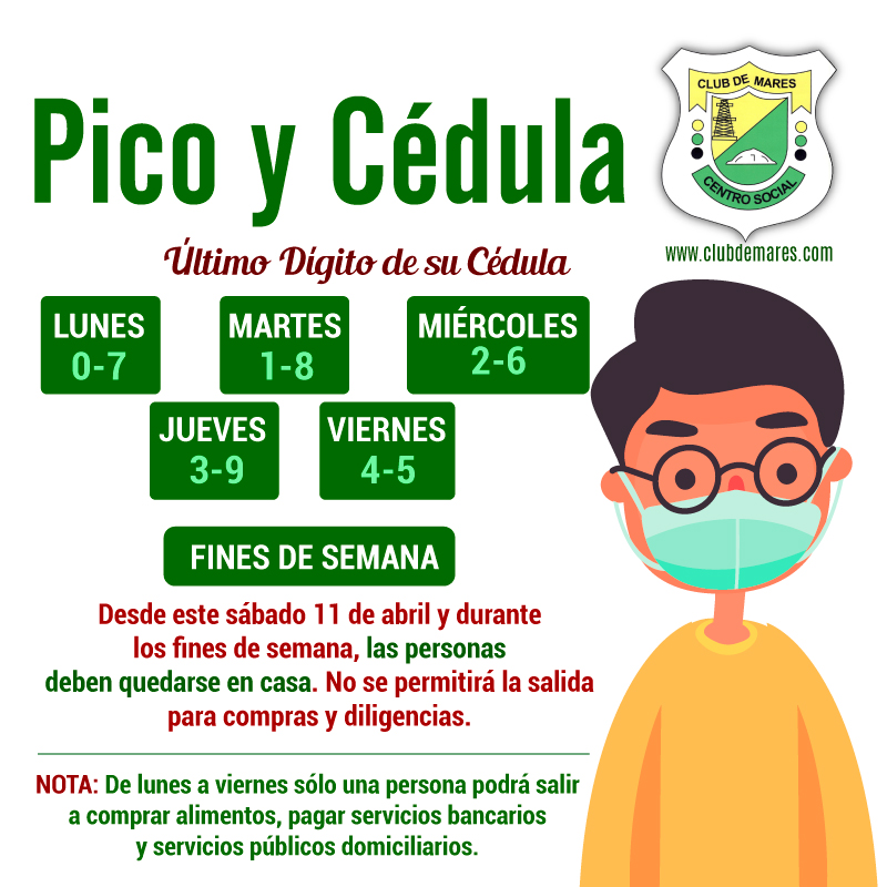 ACTUALIZACIÓN PICO Y CÉDULA #PicoYCédula para la compra de víveres, alimentos, pago de servicios públicos y bancarios.   #ClubDeMares #QuédateEnCasa #EvitaContagio. https://t.co/gryitgTnzt