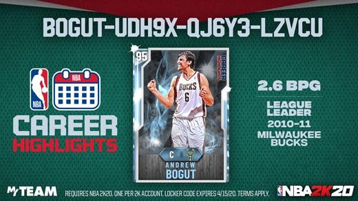 Career Highlights #LockerCode Let's honor the big man, #AndrewBogut, for leading the league in blocks per game in 2010-11 on Milwaukee. Use this #code for a chance at a #Diamond Bogut  For More #LockerCodes #NBA2K20 👉Follow,Like, & RT 👉Click 👉