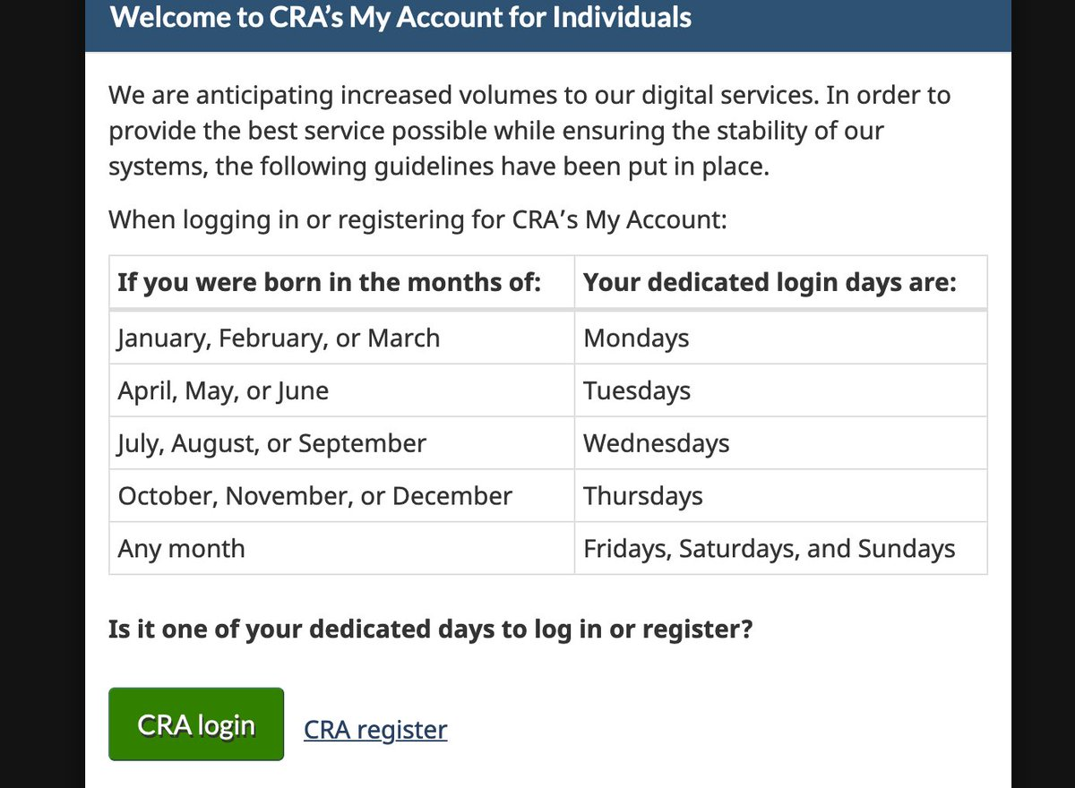 St John Alexander On Twitter This Is New So Many People Are Using The Service The Canadian Revenue Agency Has Assigned Specific Days Of The Week We Can Log On Depending On Our