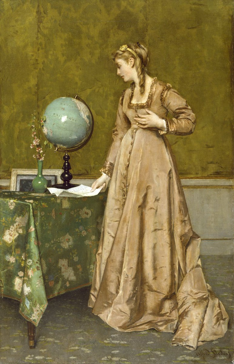News from Afar (mid 1860s) by Alfred Stevens (Belgian, 1823-1906). Walters Art Museum, Baltimore. #Victorian #Travelpic.twitter.com/RX3gZ4URhJ