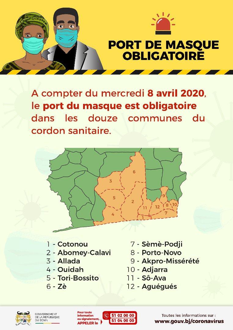 Le port du masque est obligatoire dans les douze communes du cordon sanitaire. Respectons les mesures prises par le @gouvbenin pour contribuer à la lutte contre la propagation du Coronavirus au Bénin.  Portons nos masques  #COVID19 #Covid19bj https://t.co/0x2rDfUTU5