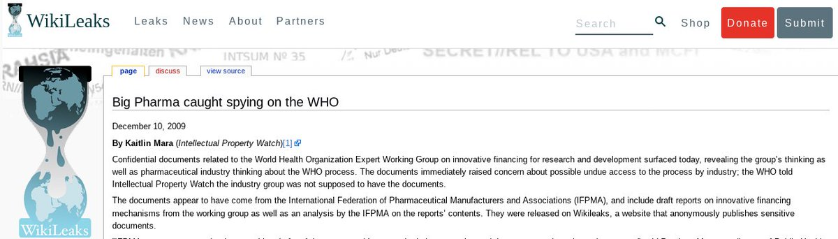 Big Pharma caught spying on the WHO, December 10, 2009
