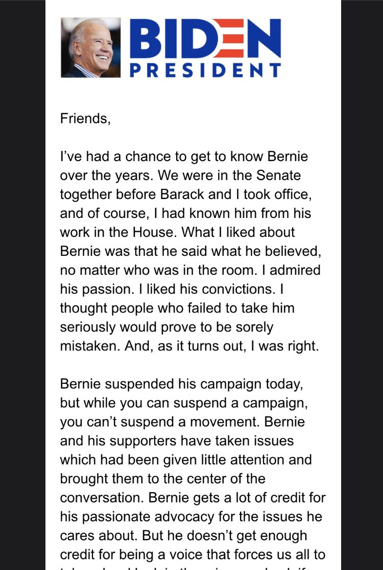 "New: @JoeBiden campaign already out w/fundraising appeal off @BernieSanders dropping out ""I thought people who failed to take him seriously would prove to be sorely mistaken. And, as it turns out, I was right."" @cbsnews"