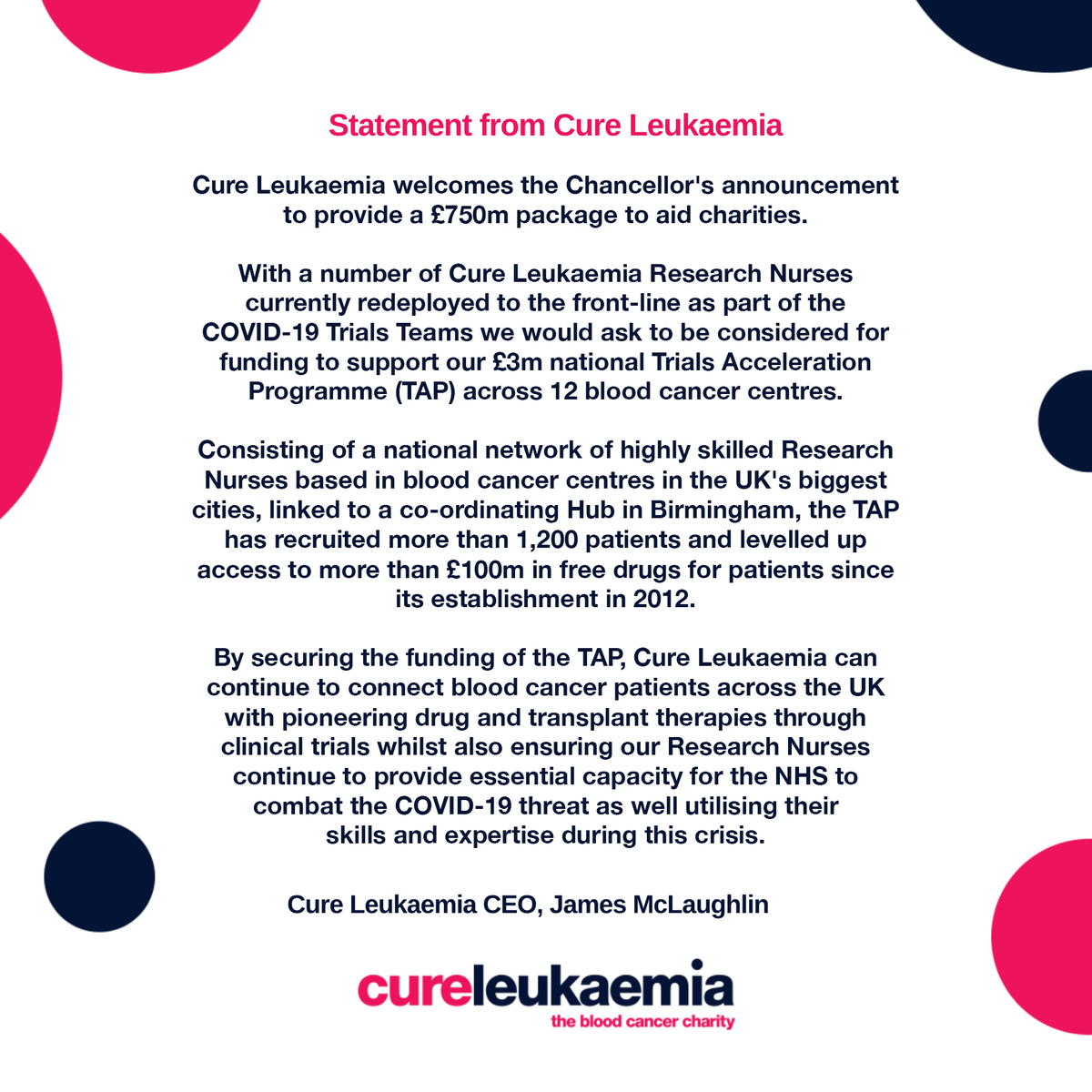 Cure Leukaemia Charity Pin Badge for Blood Cancer Awareness