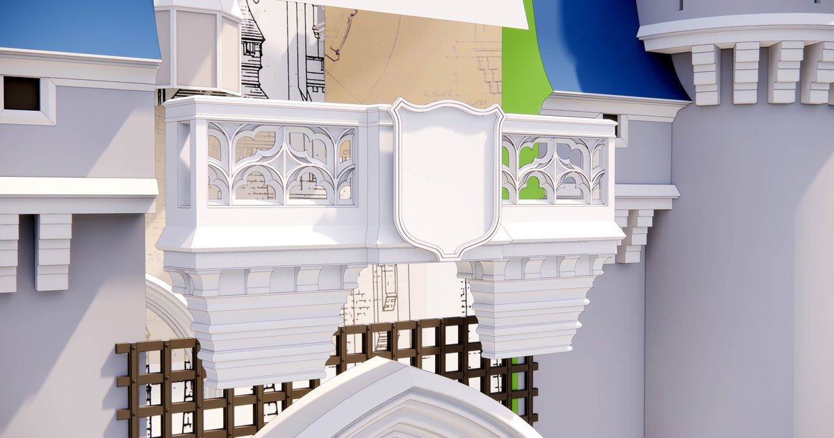 #Cinderella #Castle #3Dmodel: It's not perfect, but I'm pretty happy with this balcony stonework. The edges are outlined to show detail.  #wdw #disneyworld #disney #magickingdom #disTwitter #sketchup #3dprinting