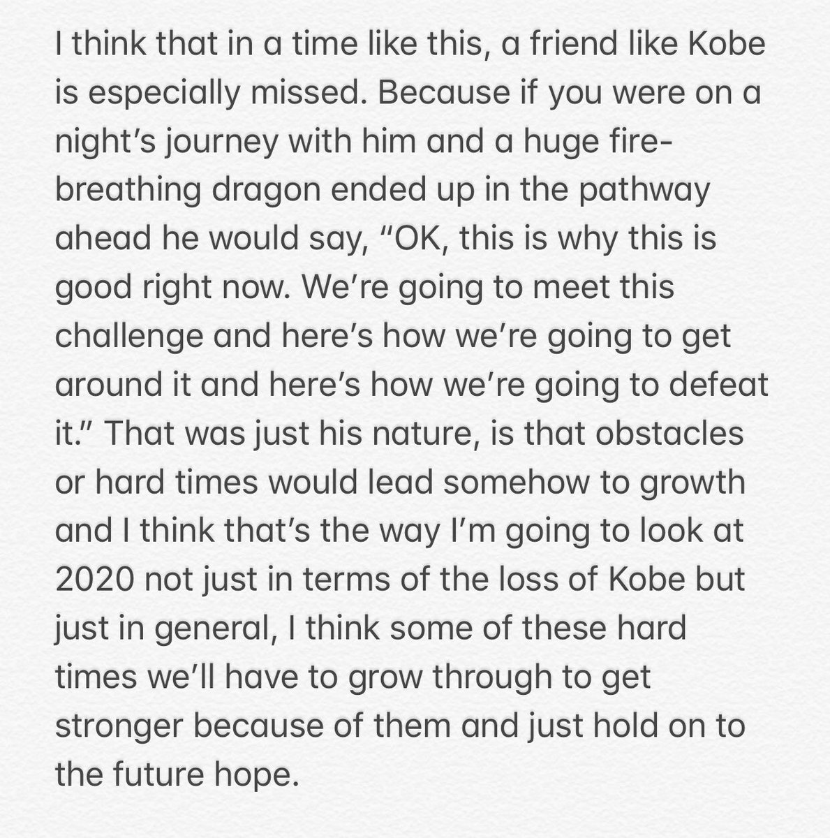 """Lakers GM Rob Pelinka just concluded a conference call with local writers and said, among many other things, that """"in a time like this, a friend like Kobe (Bryant) is especially missed."""" Here's his complete thought:"""