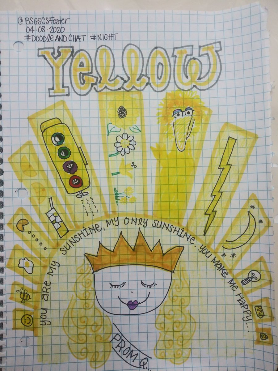 #DoodleAndChat #night YELLOW sun sunshine daffodils sunflowers daisies Big Bird cheese LEGO submarine PacMan egg bee smiley face lightning pic.twitter.com/WQo2uY1DiK