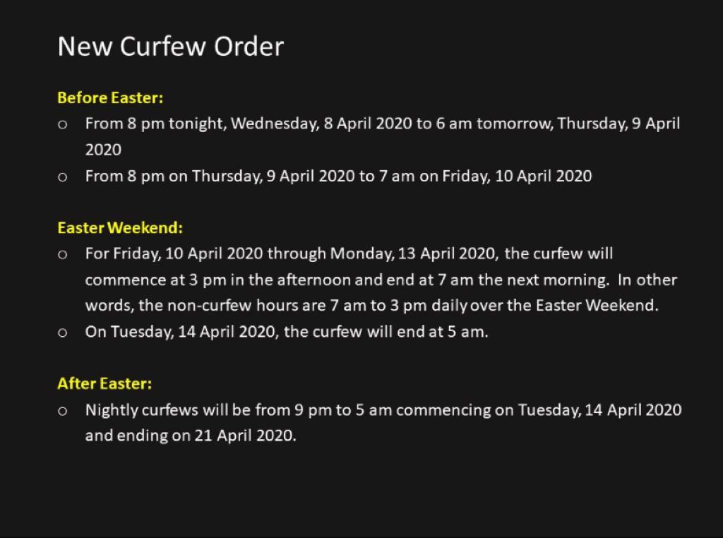 Replying to @AndrewHolnessJM: Please note new curfew order:
