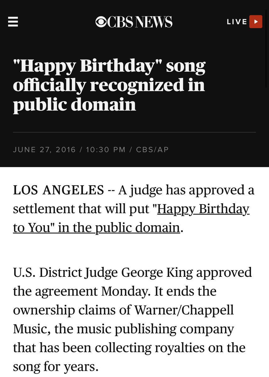 Bora On Twitter Happy Birthday Is Part Of The Public Domain You Can T Get A Copyright Strike Fix This Twitter Twittersupport Https T Co Rcxopx4lfj Https T Co 4x0cvxfg79