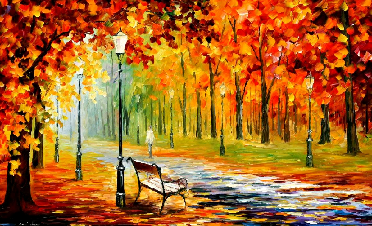 SILENCE OF THE FALL — PALETTE KNIFE Oil Painting On Canvas By Leonid Afremov   Please click on the link to see this painting on the site #colourful #artwork🎨