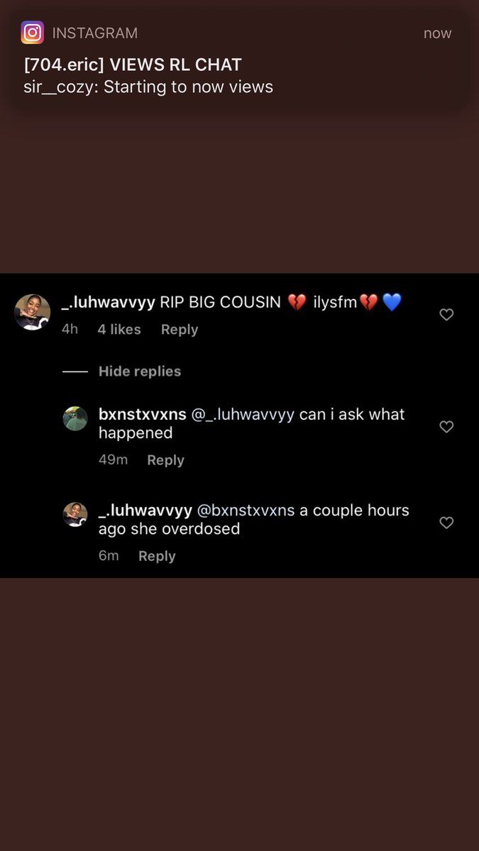 Apparently this her cousin saying she died of an overdosepic.twitter.com/bJLPyAw64N