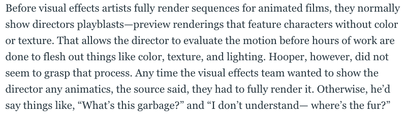 Apparently teenagers who watch the BTS features on the Lord of the Rings DVDs know more about VFX filmmaking than Tom Hooper.  https://www.thedailybeast.com/i-edited-the-buttholes-out-of-cats-it-was-a-total-nightmare…pic.twitter.com/l04Dyx4Hul