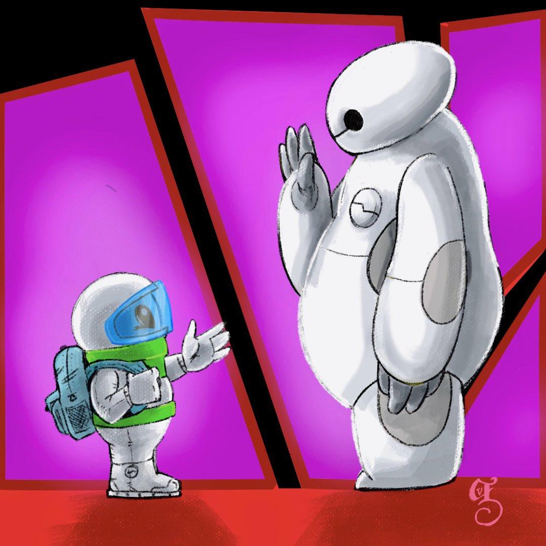 Just watched Big Hero 6... again...  though this might be an interesting meet up. #theadventuresofbuzz #illustration #illustrator #disney #bighero6 #baymax #wacomcintiq #scbwi #scbwiillustrators #childrensbooks #childrensbookillustration #kidlit #kidlitillustration #kidlitartpic.twitter.com/wKowOWwDvl