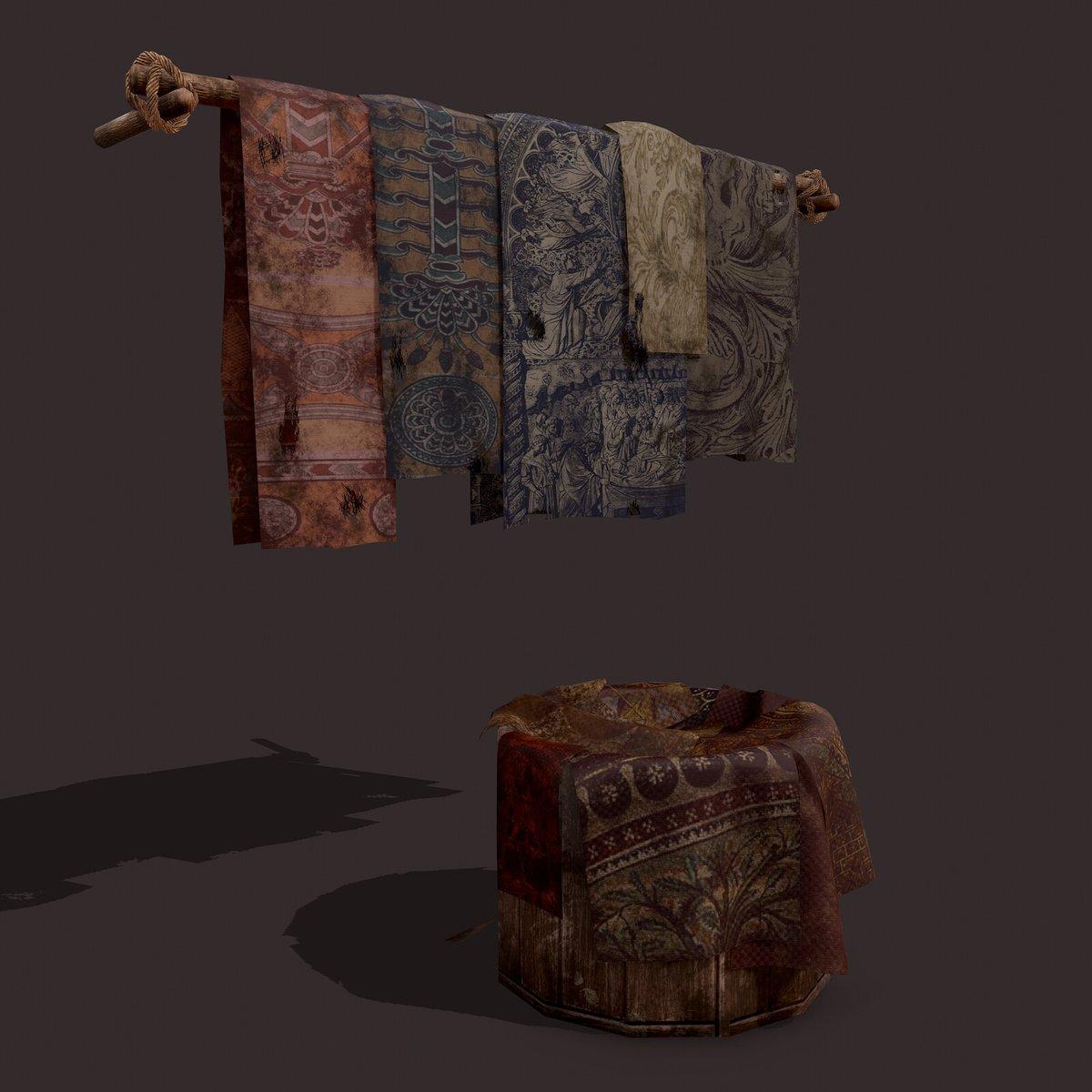 Medieval Blankets Hanger and Bucket Prop. 3D Models #substancepainter #3dmodel #3dprops #medieval