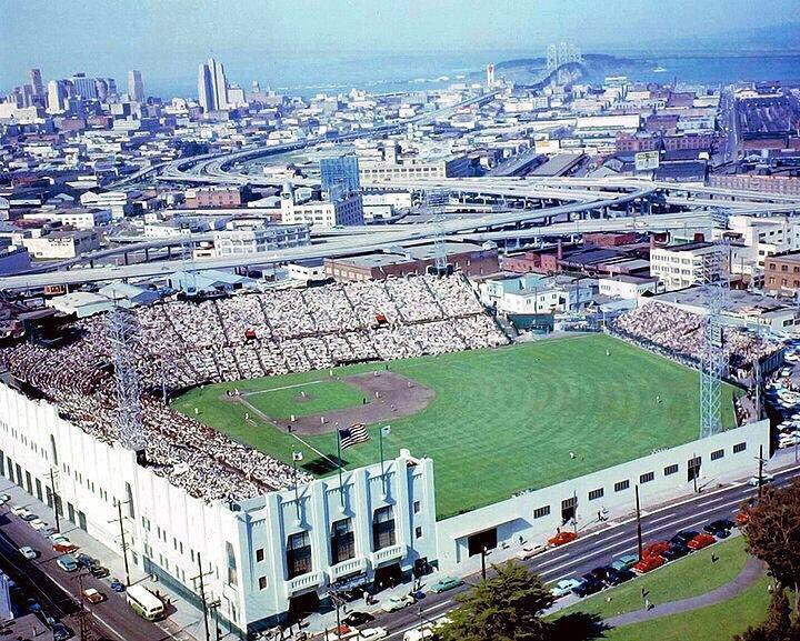 Aerial shot of Seals Stadium in 1958. The first year the Giants played in San Francisco. Top right is the Bay Bridge (where their current home, Oracle Park, is located).