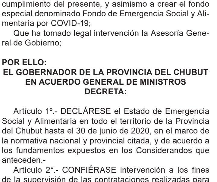Chubut declaró la Emergencia Social y Alimentaria. Lo hizo x DNU el Gobernador. Durará hasta el 30 de junio. La min. Otarola administrará un Fondo Especial y podrá hacer compras directas. https://t.co/X3iY2S3t98