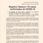 Image for the Tweet beginning: Registra #Tabasco 112 casos positivos