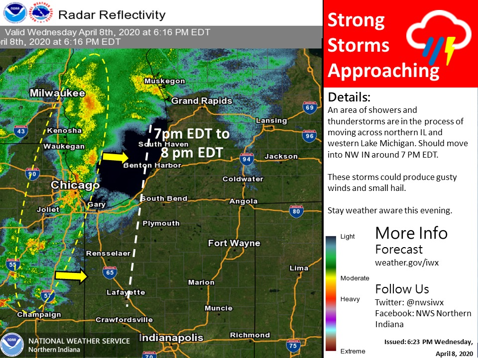 Storms are approaching from the west that could bring gusty winds and small hail. Stay Weather Aware this evening.