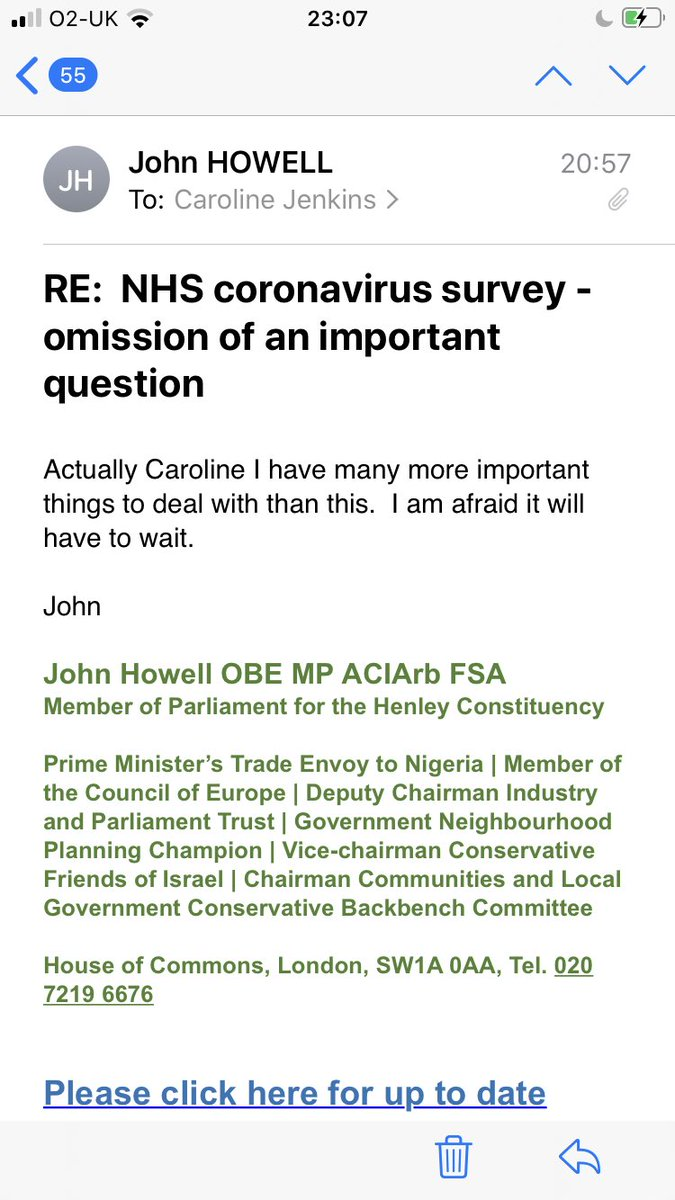 Well, here's my MP's (@JHowellUK) reply to my email about this today 😶  #nhs #dataquality #covid19