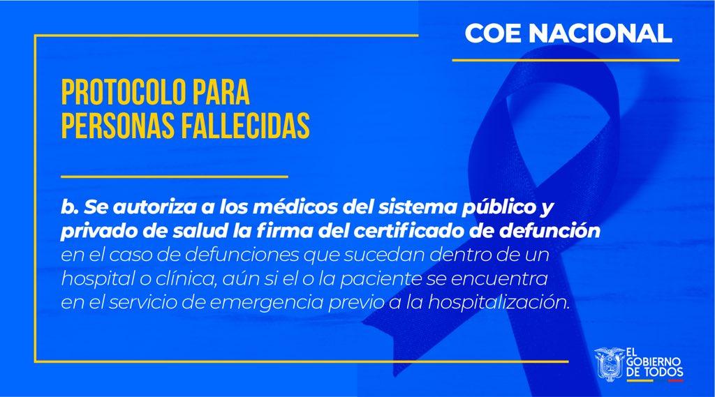#UnidadNacional | Conoce el caso donde se autoriza a los médicos del sistema público y privado de salud la firma del certificado de defunción. #E cuadorUnido
