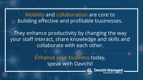 #Mobility and #collaboration are core to building effective and #profitable #businesses. They enhance productivity by changing the way your staff interact, share knowledge and skills. Enhance your business with Davichi. #davichics #itsupport https://bit.ly/2V2pPltpic.twitter.com/J0pRhnL5Sc