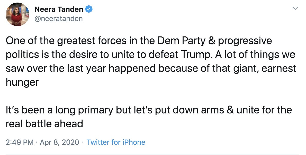 """Neera Tanden has been fighting to stop progress and squash the left at every chance made available to her at the behest of the establishment she represents, but now she wants you to """"unite"""" with her after she called you a toxic Bernie Bro and constantly spit in your face."""